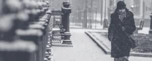 dans la rue une hiver